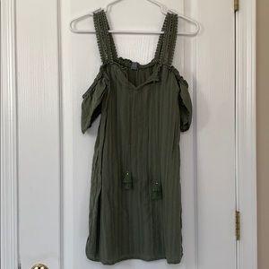 Aerie Olive Off the Shoulder Sun Dress